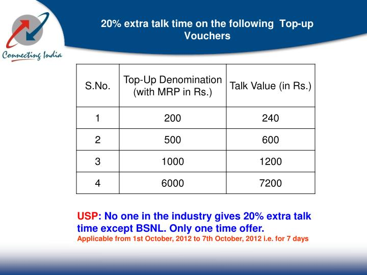 20% extra talk time on the following  Top-up