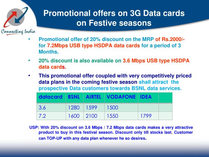 Promotional offers on 3G Data cards on Festive seasons
