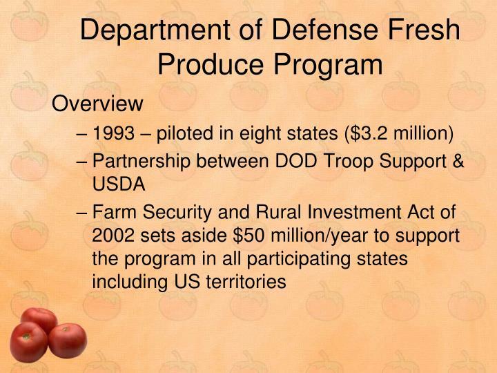Department of Defense Fresh Produce Program