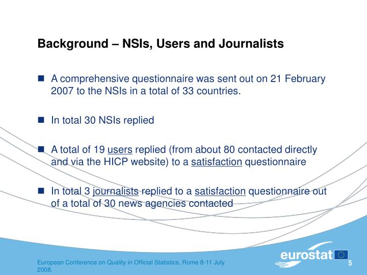 Background – NSIs, Users and Journalists
