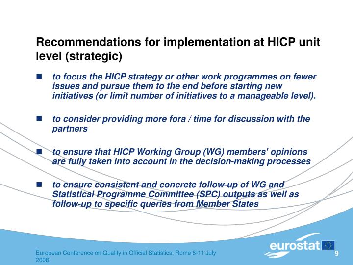 Recommendations for implementation at HICP unit level (strategic)
