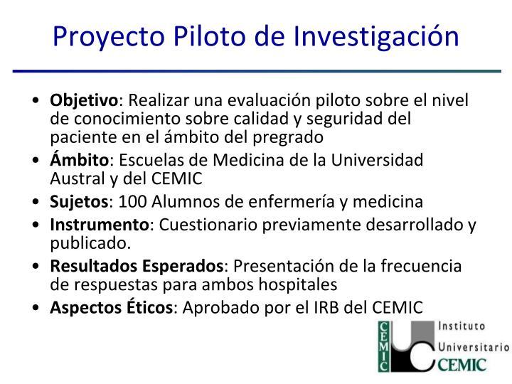Proyecto Piloto de Investigación