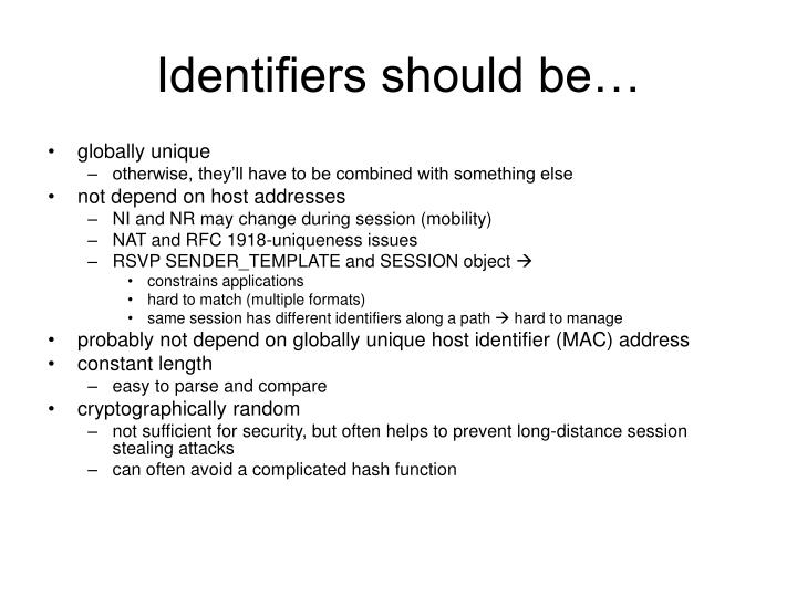 Identifiers should be…