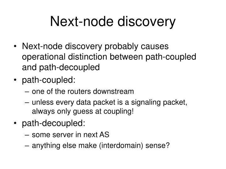 Next-node discovery