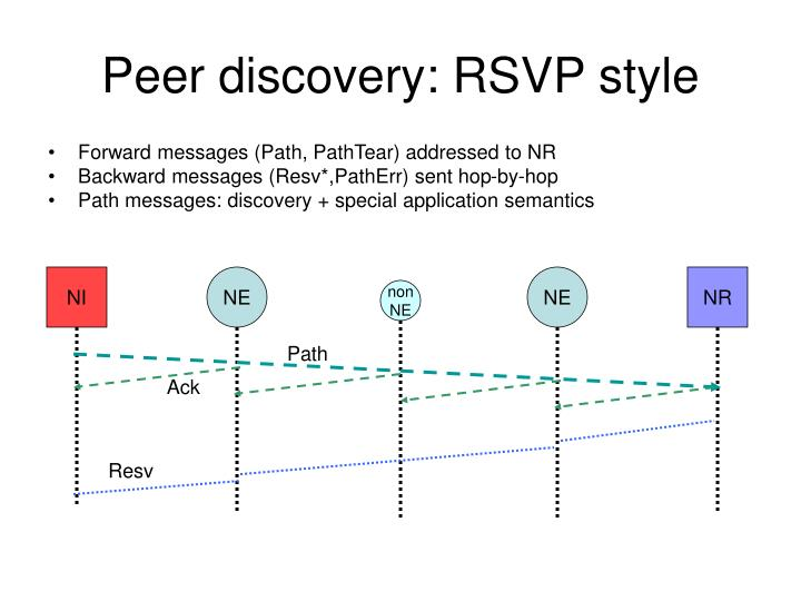 Peer discovery: RSVP style