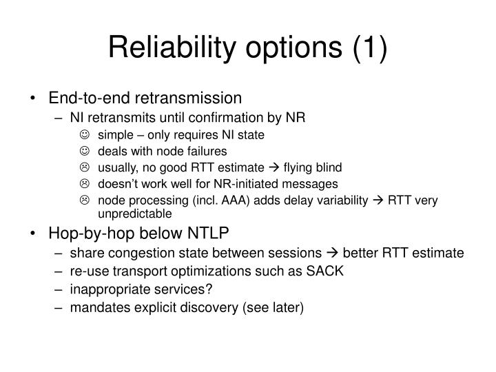 Reliability options (1)