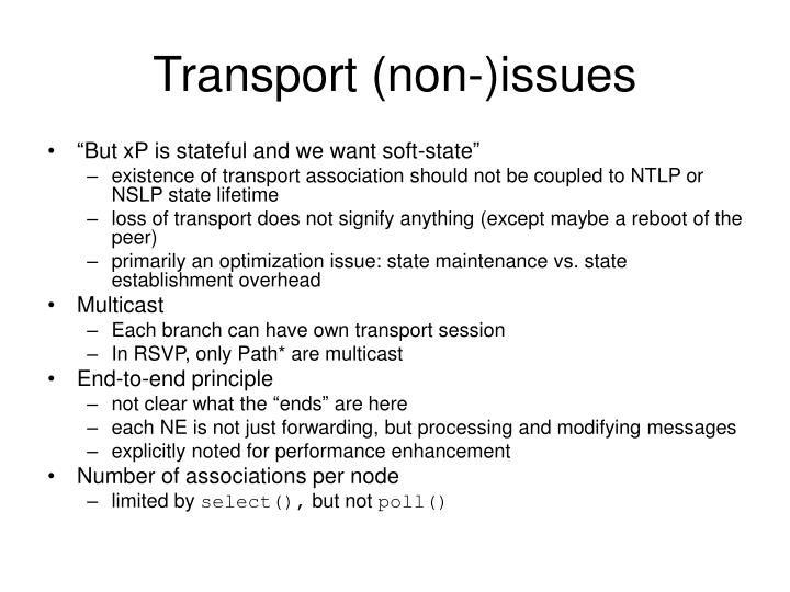 Transport (non-)issues