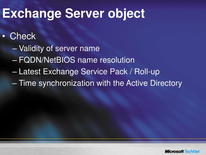 Exchange Server object