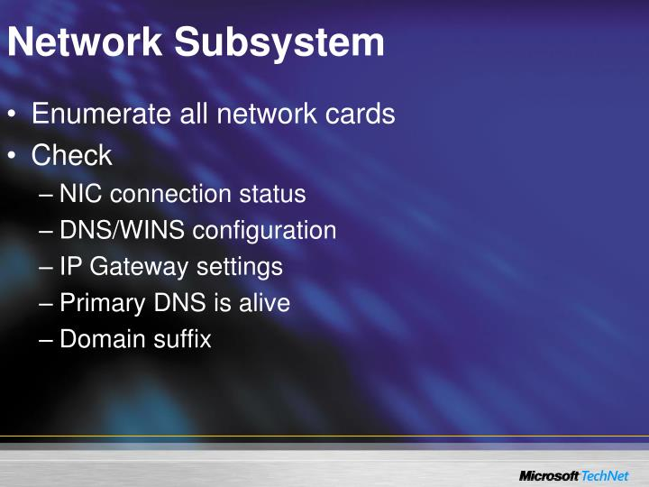Network Subsystem