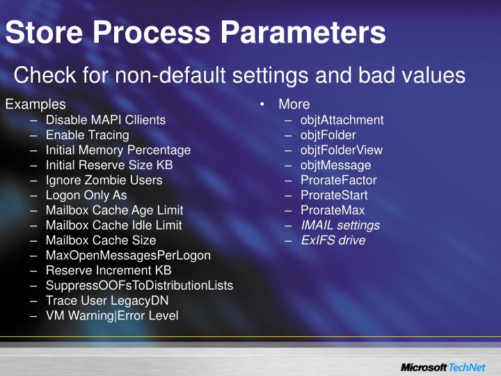 Store Process Parameters