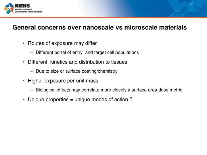 General concerns over nanoscale vs microscale materials