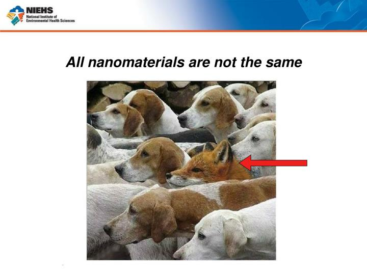 All nanomaterials are not the same