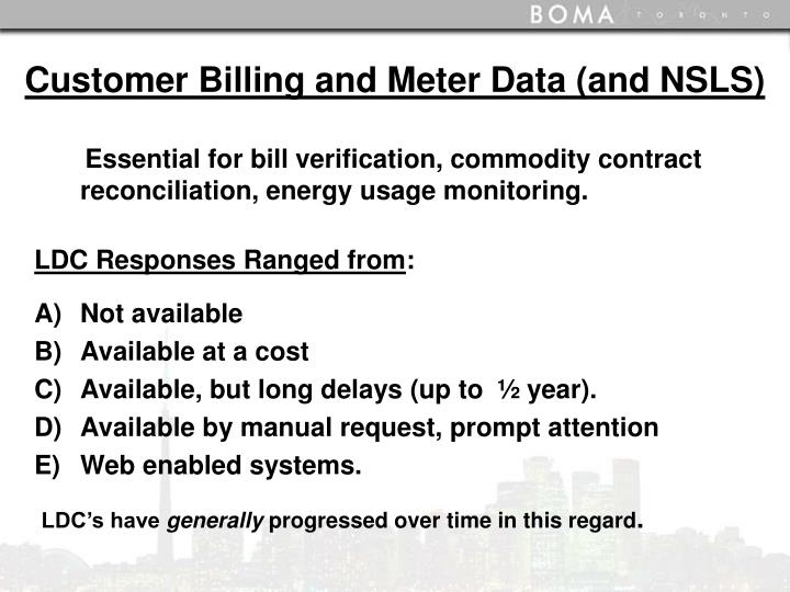 Customer Billing and Meter Data (and NSLS)
