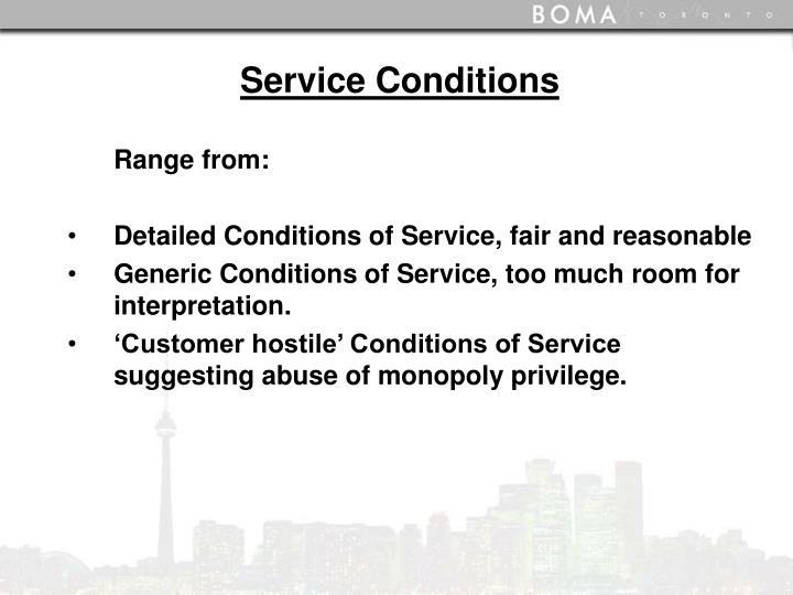 Service Conditions
