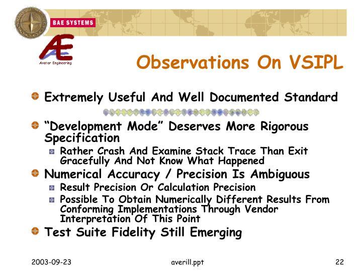 Observations On VSIPL