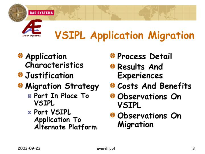 Vsipl application migration