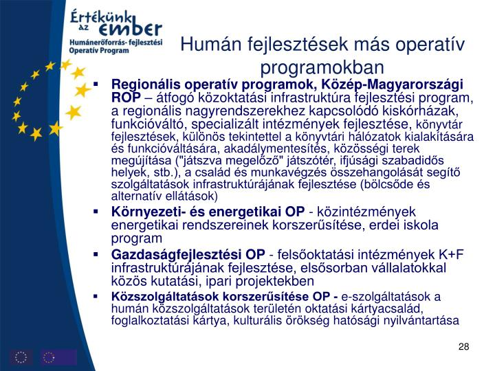 Humán fejlesztések más operatív programokban