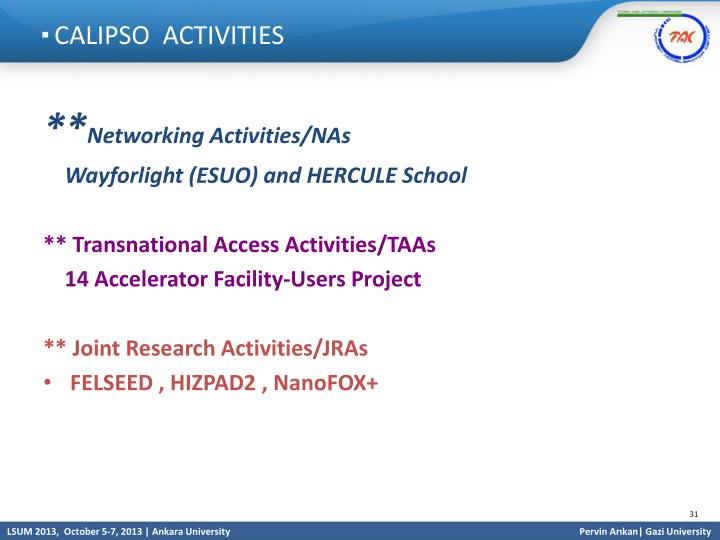 CALIPSO  ACTIVITIES