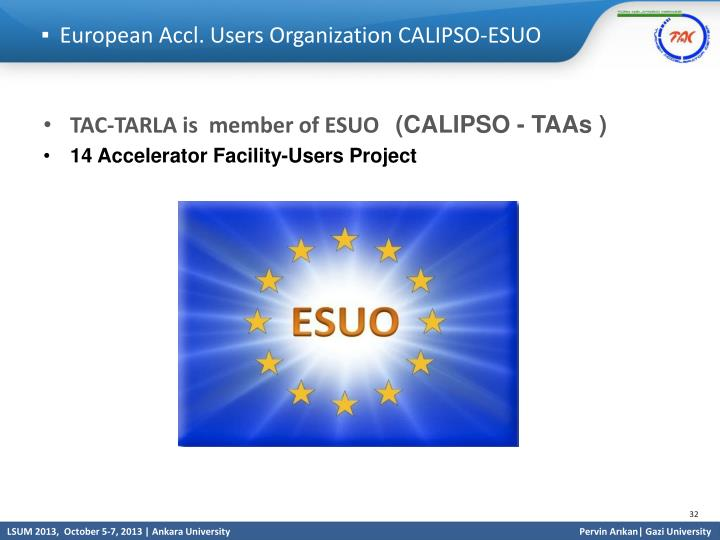 European Accl. Users Organization CALIPSO-ESUO