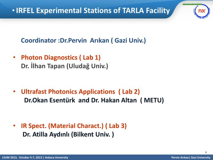 IRFEL Experimental Stations of TARLA Facility