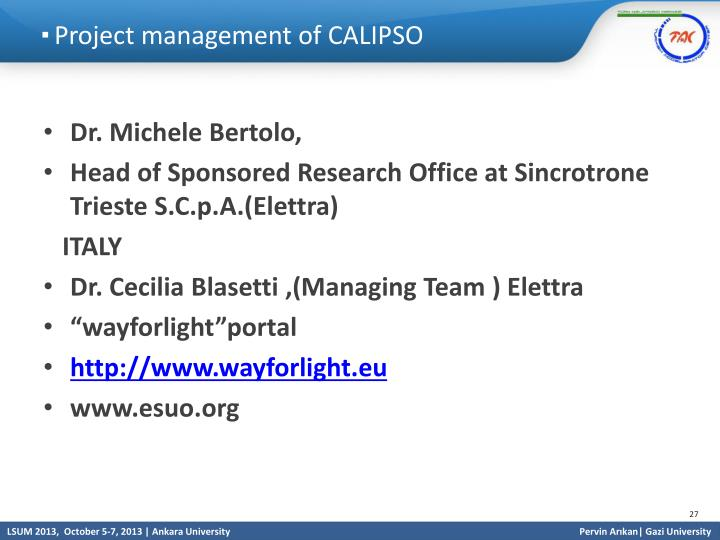 Project management of CALIPSO