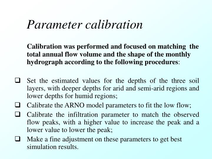 Parameter calibration
