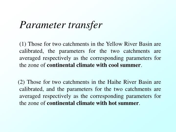 Parameter transfer