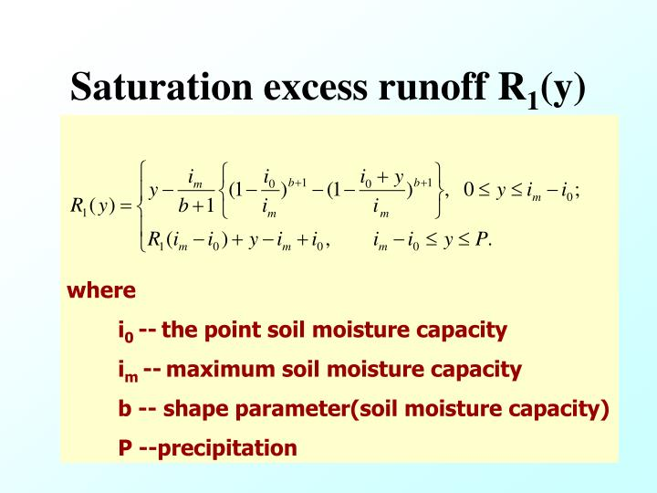 Saturation excess runoff R