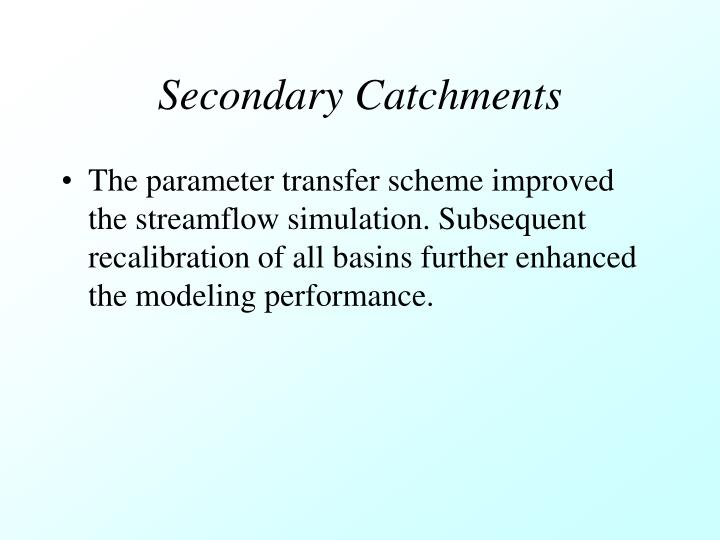 Secondary Catchments