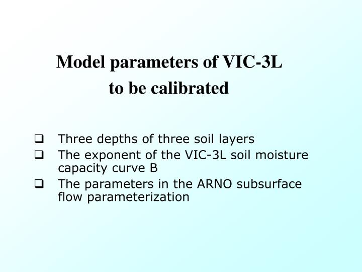 Model parameters of VIC-3L