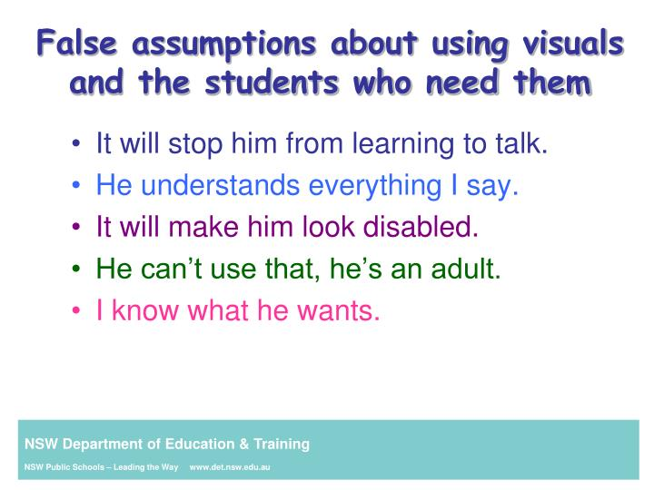 False assumptions about using visuals  and the students who need them