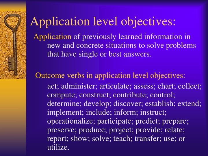 Application level objectives: