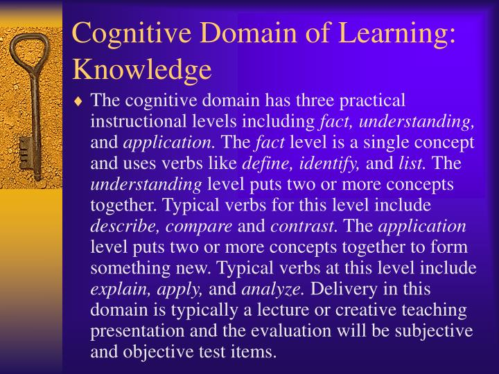 Cognitive Domain of Learning: