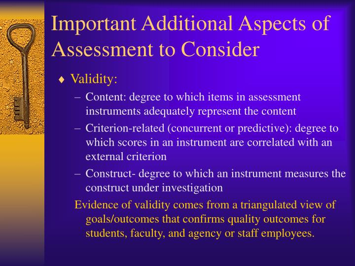 Important Additional Aspects of Assessment to Consider