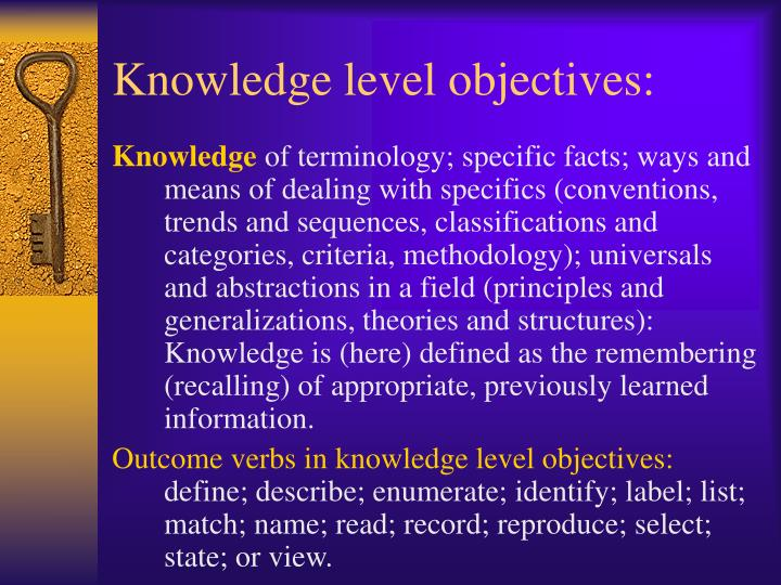 Knowledge level objectives: