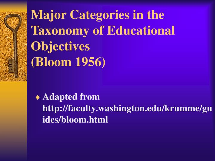 Major Categories in the Taxonomy of Educational Objectives