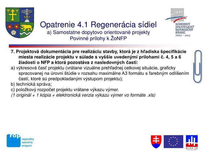 Opatrenie 4.1 Regenerácia sídiel
