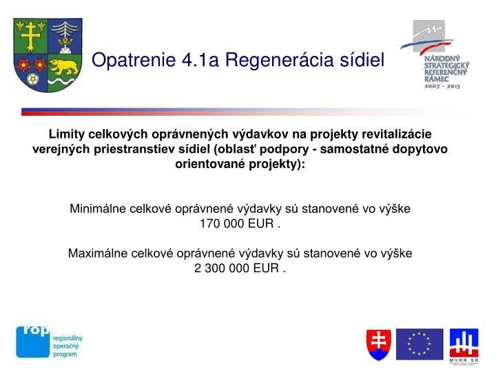 Opatrenie 4.1a Regenerácia sídiel