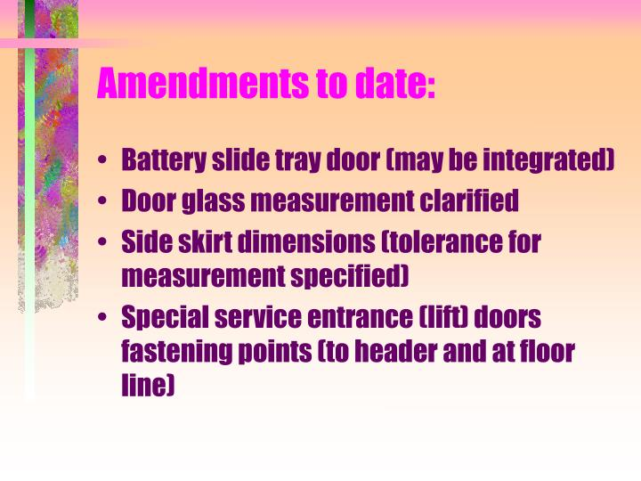 Amendments to date: