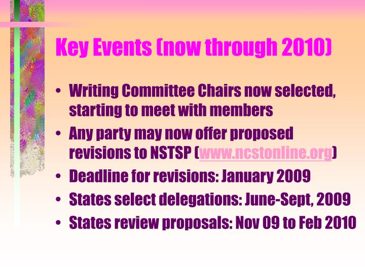 Key Events (now through 2010)