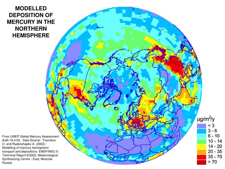 MODELLED DEPOSITION OF MERCURY IN THE NORTHERN HEMISPHERE