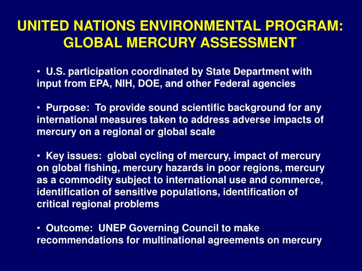 UNITED NATIONS ENVIRONMENTAL PROGRAM: