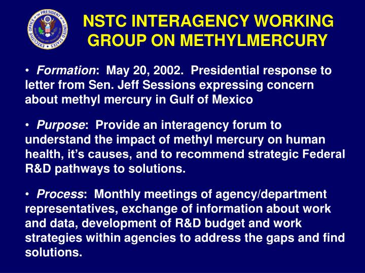 NSTC INTERAGENCY WORKING