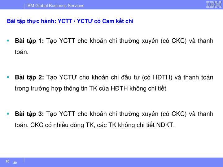 Bài tập thực hành: YCTT / YCTƯ có Cam kết chi