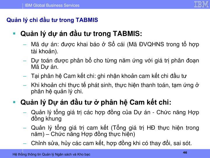Quản lý chi đầu tư trong TABMIS