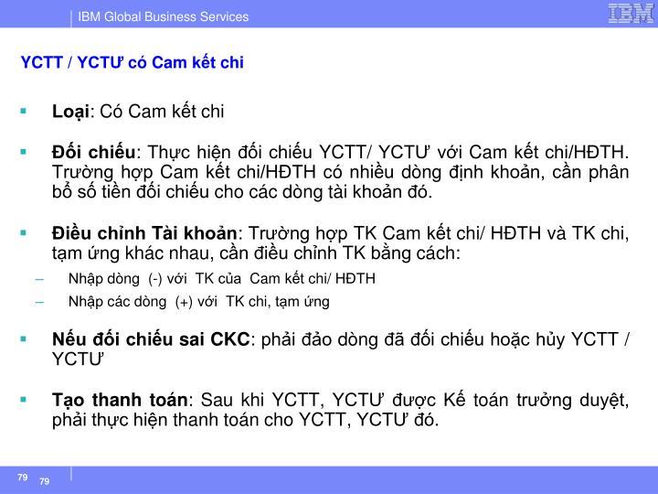 YCTT / YCTƯ có Cam kết chi