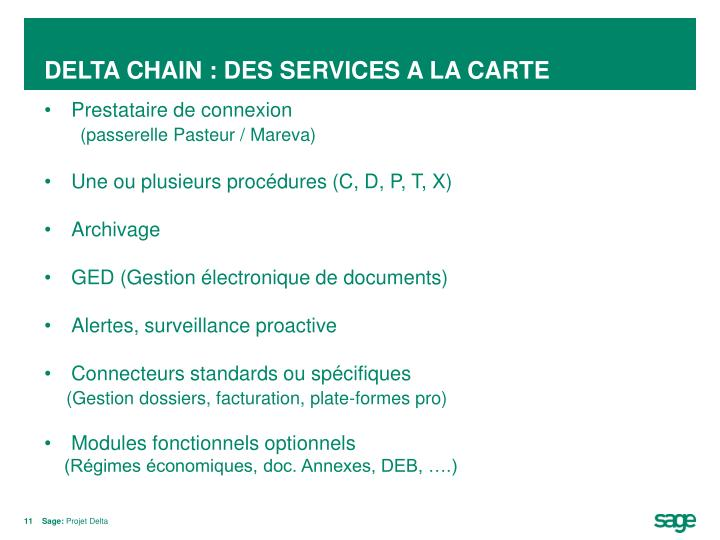 DELTA CHAIN : DES SERVICES A LA CARTE