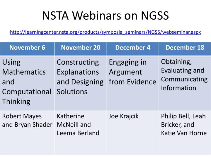 NSTA Webinars