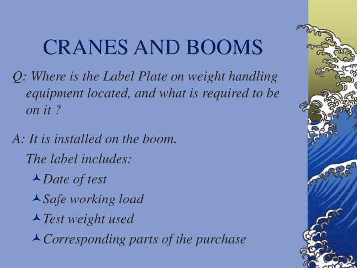 CRANES AND BOOMS