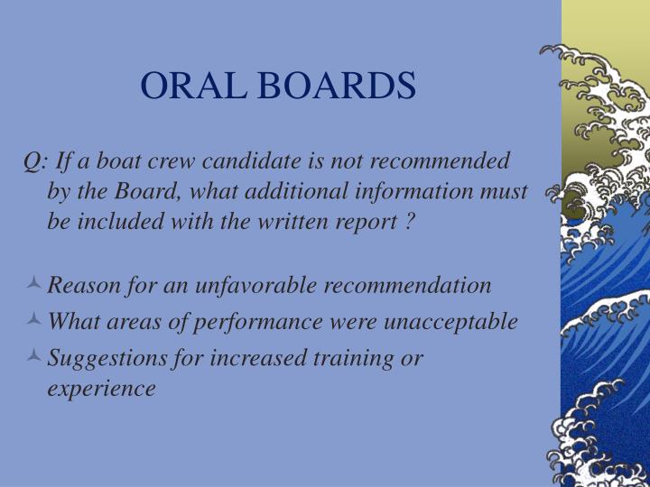 ORAL BOARDS